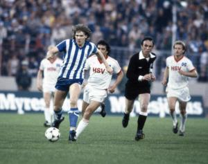 Glenn Stromberg of Gothenburg during the Hamburg v Gothenburg UEFA Cup Final 2nd Leg played at the Volksparkstadion in Hamburg on the 19th May 1982. Gothenburg won 4Ð0 on aggregate. (Photo by Bob Thomas/Getty Images)